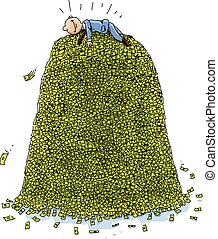 Pile of Money - A happy, cartoon businessman lies on top of...