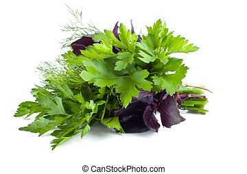 The bunch with three type of greens: basil, fennel and...