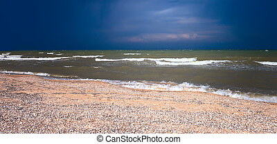 The stormy day at the Azov sea - The stormy summer day at...
