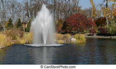 The fountain and pond in Mezhigirya, Ukraine. It is former...