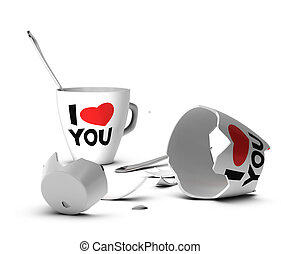 Marital Abuse, Domestic Violence - Broken mug with I love...
