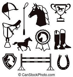 Icon set with horse equipment in flat style
