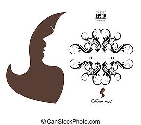 silhouette of a girl with long hair - Vector illustration of...