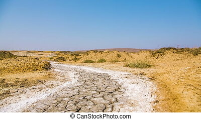 Barren Landscape in Crimea - Moving image of a road in a...