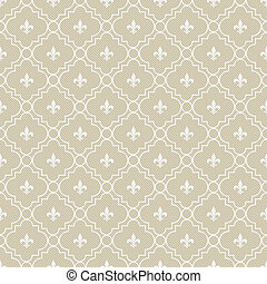 Beige and White Fleur-De-Lis Pattern Textured Fabric...