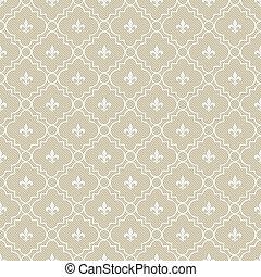 Beige and White Fleur-De-Lis Pattern Textured Fabric...