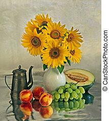 Still life with a sunflowers and fruits