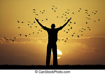 man looks flock of birds - illustration of man looks flock...