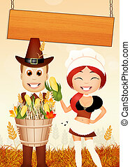 Happy couple on Thanksgiving Day - illustration of happy...