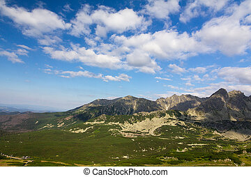 view on mountains in summer and blue sky with clouds