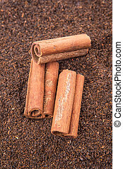 Cinnamon Stick On Dried Tea Leaves - Cinnamon stick on dried...