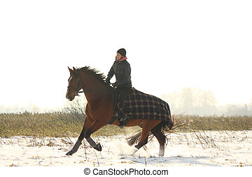 Teenager girl riding bay horse in winter - Teenager girl...