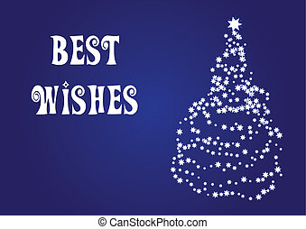 Best wishes, christmas vector card - with a christmas tree