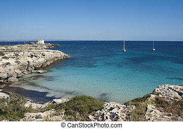 clear blue sea - very beautiful small beach with blue sea on...