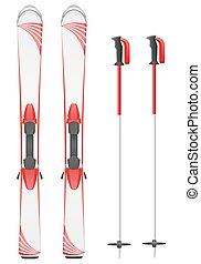 skis mountain vector illustration