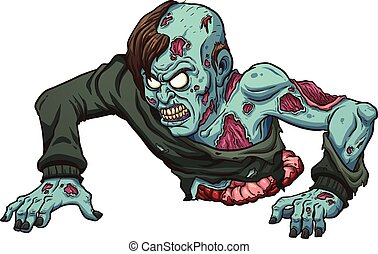 Crawling zombie - Zombie with no legs crawling. Vector clip...