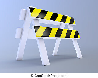 3d Roadblock - 3d render of a roadblock on blue background