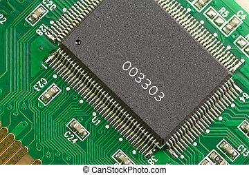 microprocessor. - Large and small microprocessor components...