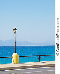 Rhodes embankment - View on Aegean Sea from Rhodes...