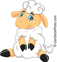 cute sheep cartoon - illustration of cute sheep cartoon