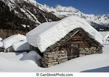 homestead - old alpine homestead snowbound