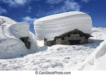 alpine chalet - old alpine chalet snowbound