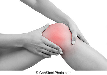 Knee injury - Beautiful female hand holding her knee with...