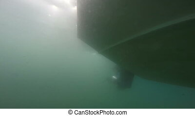 Outboard boat motor mounted on the transom. Underwater.