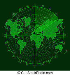 Green Radar Screen with Map. - Green Radar Screen....