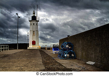 Lighthouse in Anstruther Scotland - A shot of a moody...