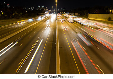 Short Light Trails on a Highway - A view of Short Light...