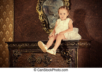 vintage classic - Cute little girl in a beautiful white...
