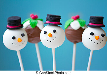 Christmas cake pops - Snowman and Christmas pudding cake...