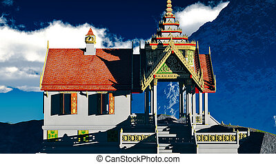 Buddhist temple in mountains -Wat Phra Phut or Wat Phra Lo