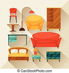 Interior icon set with furniture in retro style.