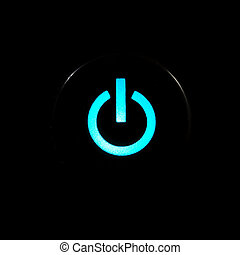 Power button - Blue glowing power button on black background