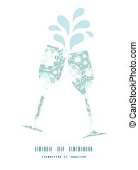 Vector shiny diamonds toasting wine glasses silhouettes pattern frame