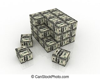 dollar boxes in stack