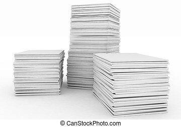 3d render illustration big piles of paper