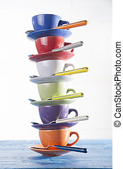 Tower of coffee cups - Kitchen accessories, colored tower of...