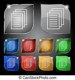 Copy file sign icon Duplicate document symbol Set of...