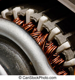 Inside electric motor - Electric motor rotor close-up,...