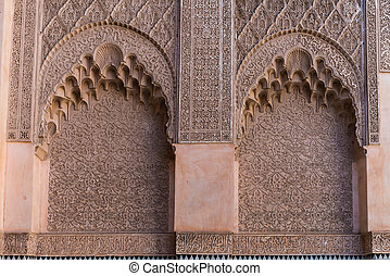 The marble craft of building at Medersa Ben Youssef in...