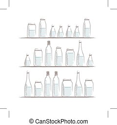 Set of bottles sketch on shelves for your design