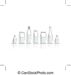 Set of bottles sketch for your design