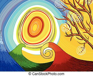 Hand-drawn seasonal background with tree and sun
