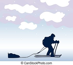 Sportsman the skier goes on a grief. Vector background -...