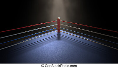Boxing Corner Spotlit Dark - A closeup of the red corner of...