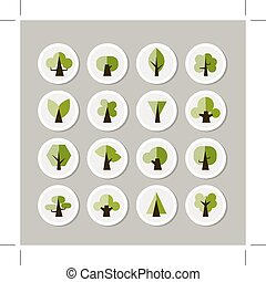 Set of green tree icons for your design