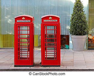 Red telephone box - Two red telephone booths in central...